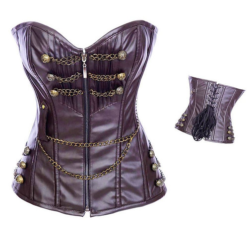 Faux Leather Chain Corset