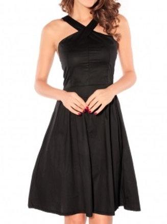 Elegant Crossover Wrapped Chest Fashion Dress Blac