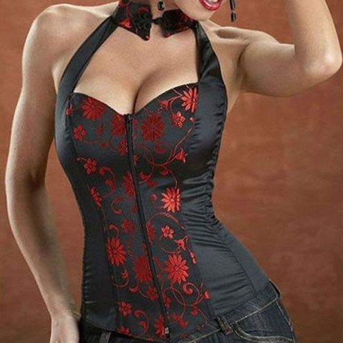 Halter Top Sweetheart Neckline Black/Red Lace Up C