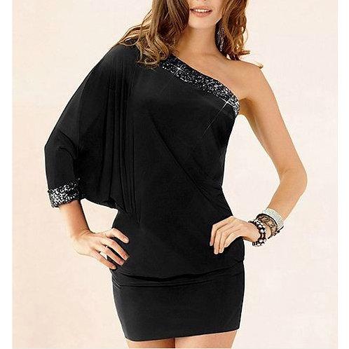 One-Shoulder Black Dress