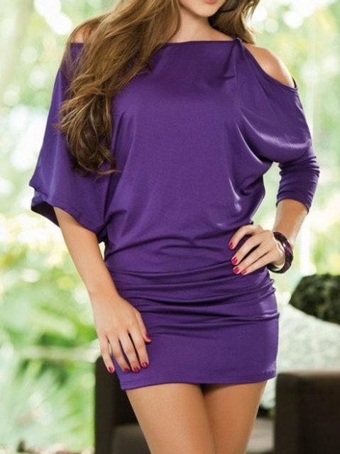 Purple Peephole Shoulder Mini Dress