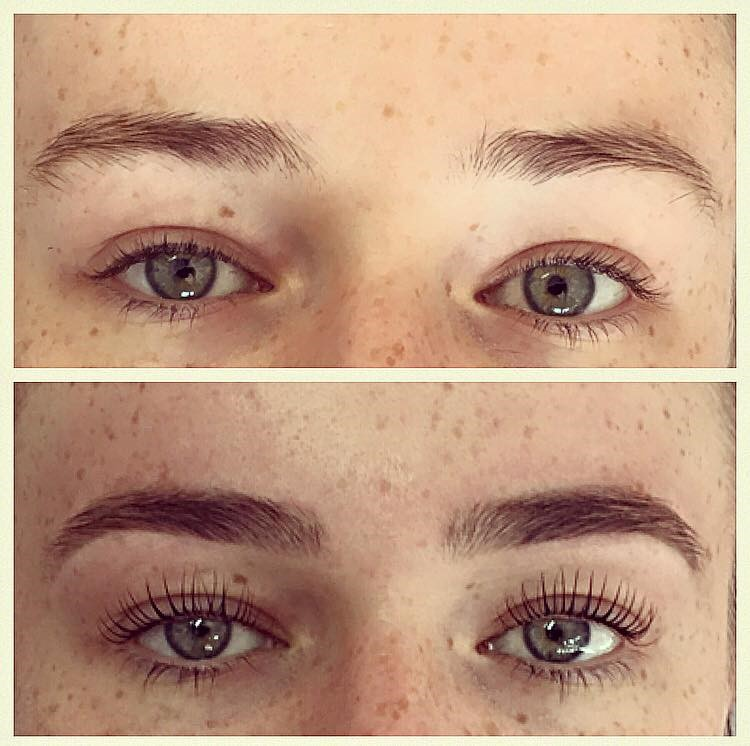 Official HD Brows & LVL Enhance Lashes. Before & immediately after