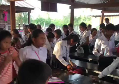 Students at the free Culitvating Cambodia school in Prey Kphuos, in Bavel District,  Battambang
