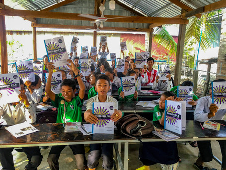 The students at Cultivating Cambodia School in Battambang received their textbooks today!