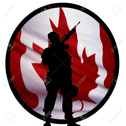 Canadian Soldier on Flag