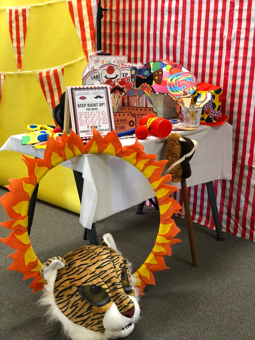 Ring of Fire, Tiger Head Prop, prop table, circus theme event, kids circus, prop overflow,
