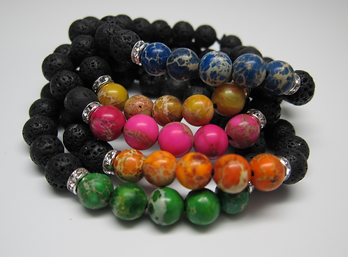 Chakra Bracelet Set With Living Purposefully Cards