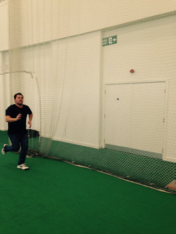 In the cricket nets in Derby