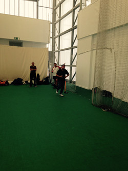 Warming up in the cricket nets