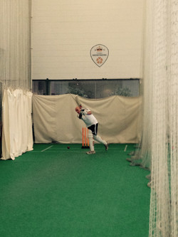 Richard batting in the nets