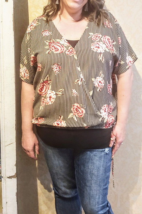 Floral Cross Over Top