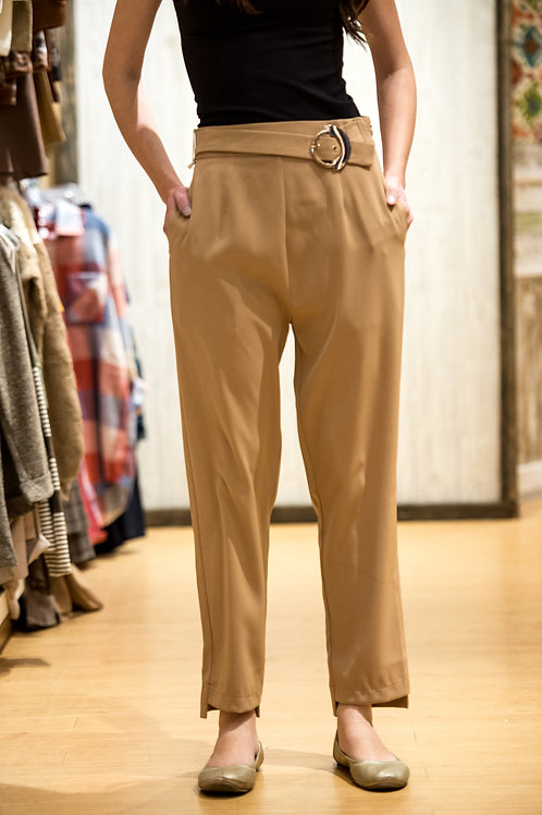 Tan Belted Pant