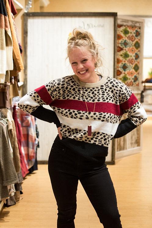 Striped Cheetah Sweater