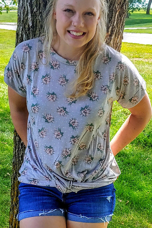 Floral Knotted Front Tee