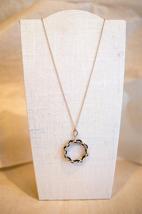 Leather Chain Circle Pendant