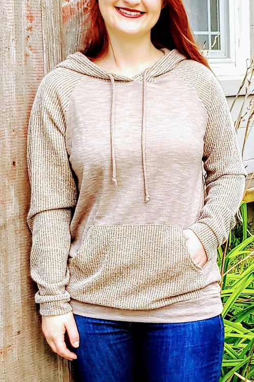 Two toned knit hooded pullover