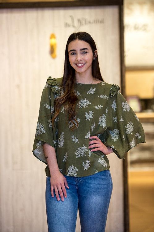Wide Sleeve Floral Top