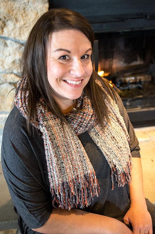 Oblong fringed scarf