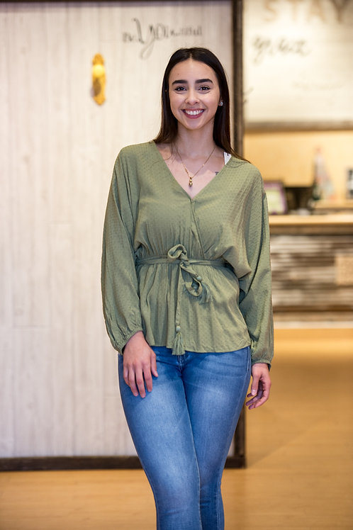 Olive Green Cinched Waist Top