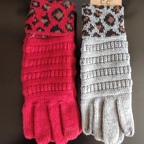CC Cheetah Knit Smart touch gloves