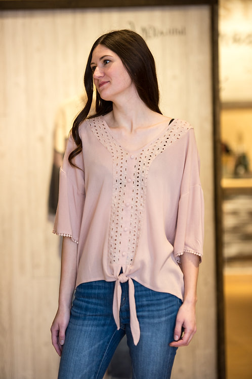 Blush Pink Tie Front Top