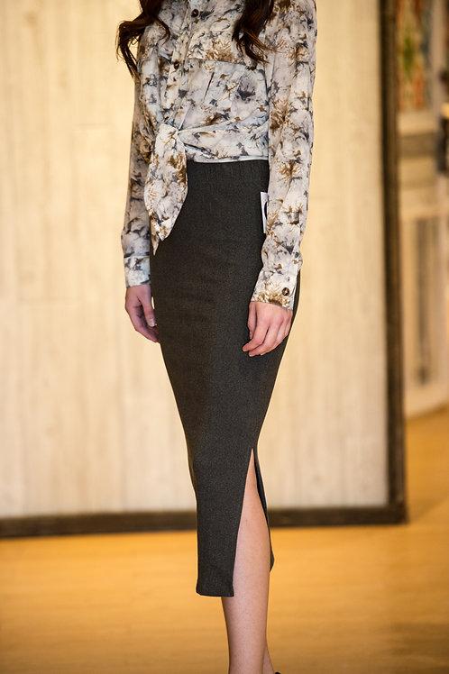 Gray Stretchy Knit Skirt