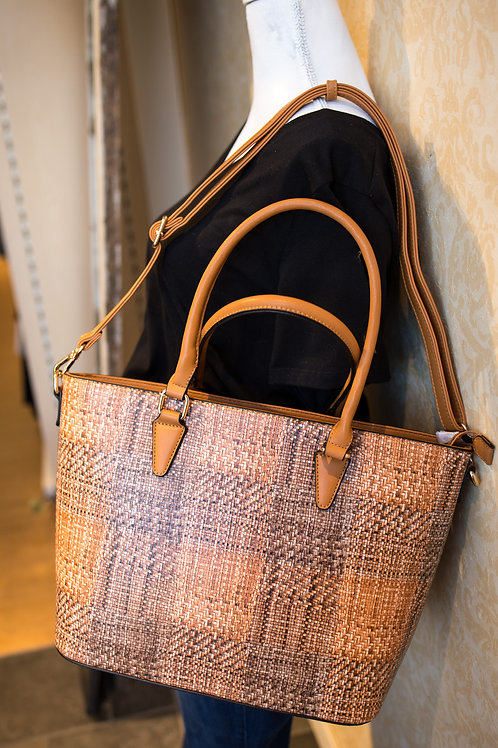 Basket Weave Print Handbag