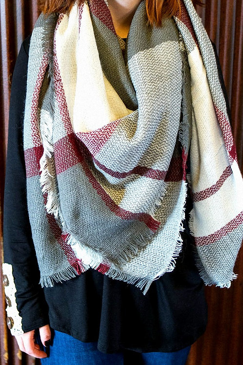 Multi colored blanket scarf