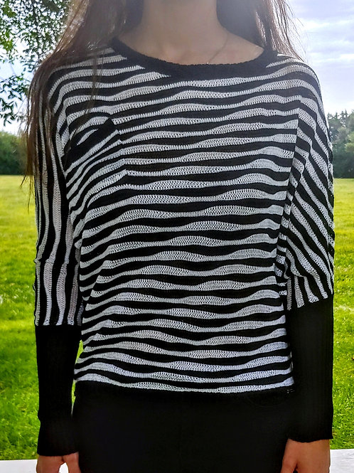 Striped Bat Sleeve Acrylic Sweater