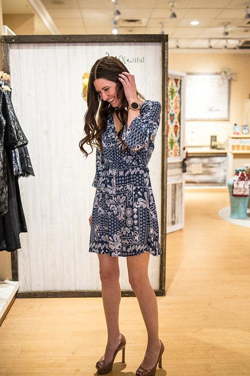 Blue Paisley Print Dress