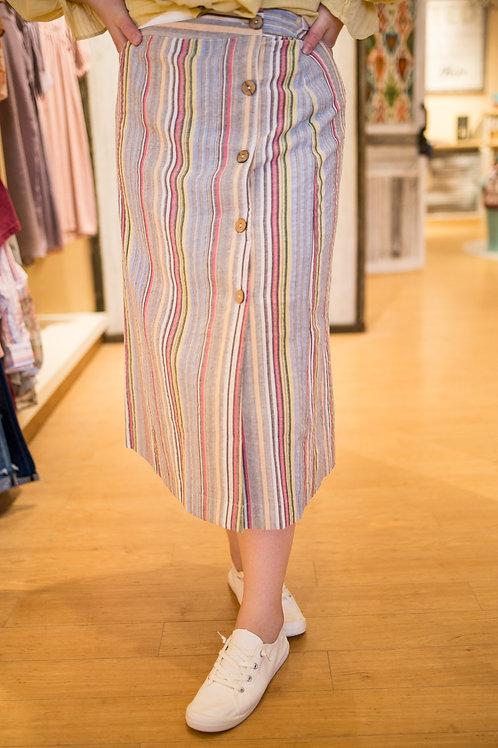 Linen Striped Button Skirt