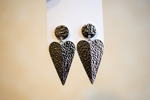 Hammered Silver Heart Earrings