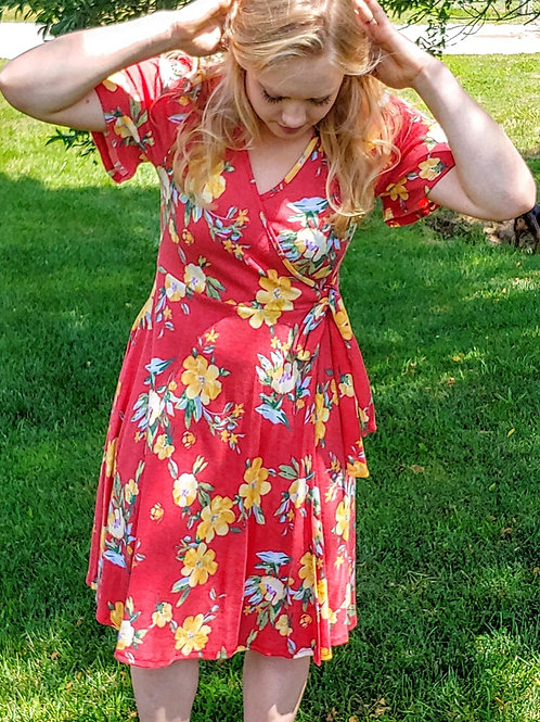 Red floral wrap around dress