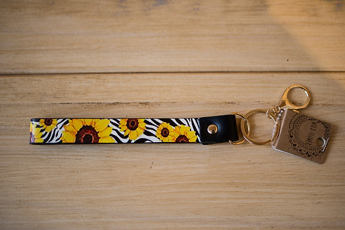 Sunflower Zebra Keychain