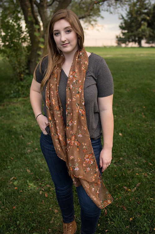 Fall Floral lightweight Scarf