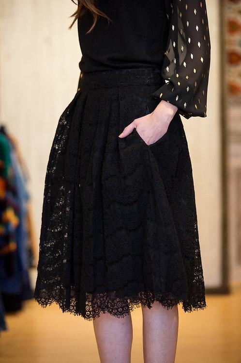 Black Lace Pocket Skirt