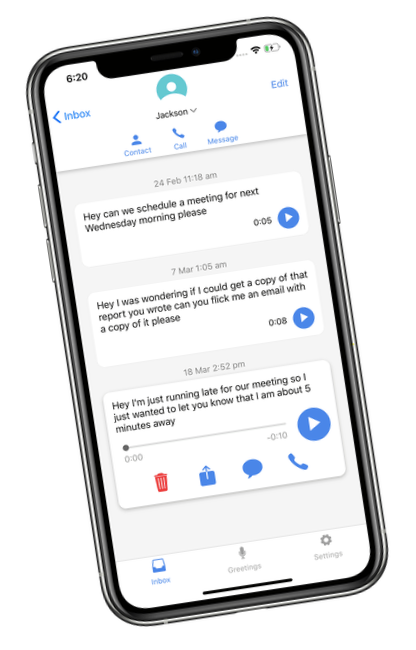 screenshot of the conversation screen on vxt visual voicemail assistant app