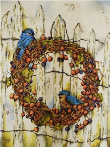Blue Birds - Watercolour Batik