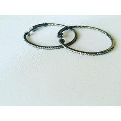 Adios! These hoops are being sent out! Oxidized white gold & diamonds