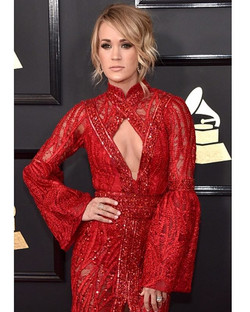 Carrie Underwood in Randall Scott _Pointed Oval Diamond Ring_ at the #grammys styled by Marina Toybi