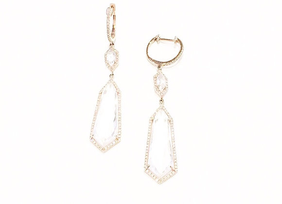 DIAMOND & WHITE TOPAZ DROP EARRINGS