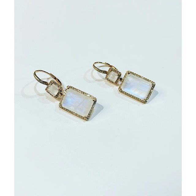 #Moonstone, diamond and gold rectangle drop earrings. Loveliness. 😍 Contact us for orders
