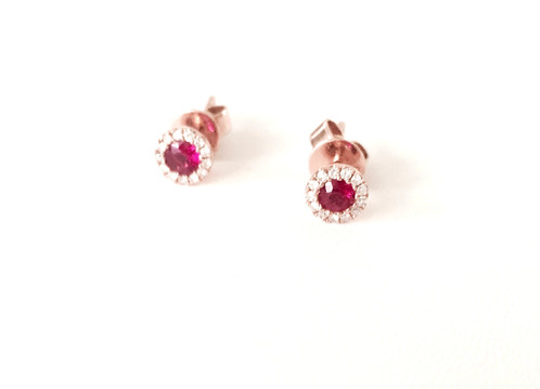 14k Rose Gold Ruby Center Stones Surrounded By Diamond Halos 0 28 Total Weight Of Rubies 08 Carat In Diamonds