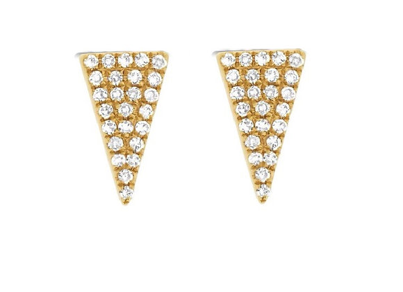 ELONGATED DIAMOND TRIANGLE STUD EARRINGS