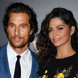 Camila Alves in Randall Scott's Labradorite & Diamond Rose Gold Studs (avail on the site) styled by