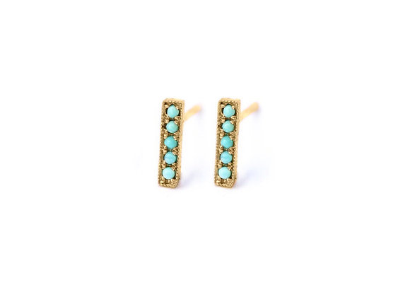 TURQUOISE SMALL BAR EARRINGS