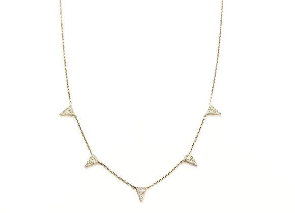 LARGE 5 TRIANGLE DIAMOND NECKLACE