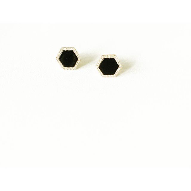 These are keeping us up tonight! #Onyx and diamond hexagon studs. Swoon