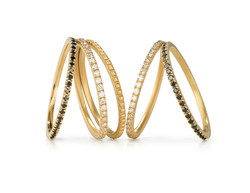 18k Yellow Halo Dot Ring featured with 18k Yellow Halo Pave Stack Rings in White