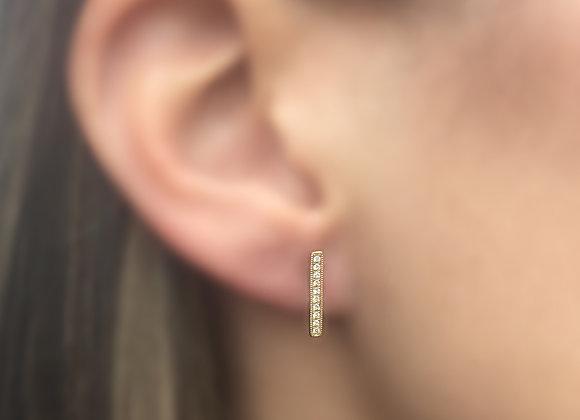 LARGE PAVE DIAMOND BAR STUD EARRINGS